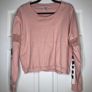 PINK Victoria Secret long sleeve crop top pink MED